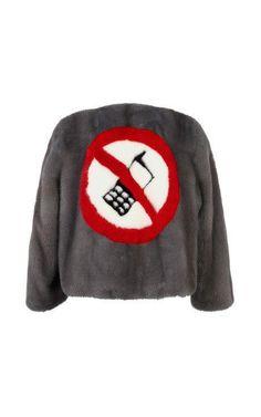 Anya Hindmarch Jacket No Mobiles In Medium Grey Mink Medium Grey