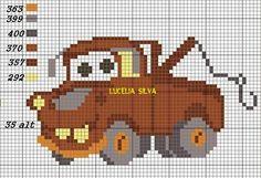 Cars rusty x-stitch Disney Cross Stitch Patterns, Counted Cross Stitch Patterns, Cross Stitch Charts, Cross Stitch Embroidery, Cross Stitch Fairy, Cross Stitch For Kids, Pixel Crochet Blanket, C2c Crochet, Crochet Stitches