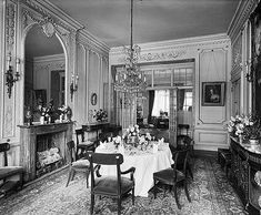 An interior view of the dining room of 27 Berkeley Square, looking towards the study. © English Heritage