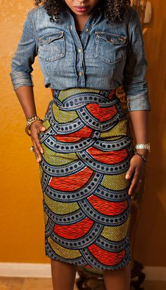 Demin Shirt + Print Midi Skirt