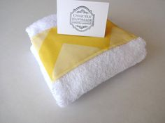 Yellow Chevron Bathroom hand towel yellow chevron by AugustAve, $6.00