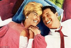 Co-stars: Doris pictured alongside Rock Hudson in the 1959 romantic comedy, Pillow Talk