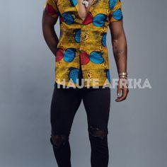 Chemise homme fait en tissu wax africain Captain Hat, Fashion, Men Wear, African, Moda, La Mode, Fasion, Fashion Models, Trendy Fashion