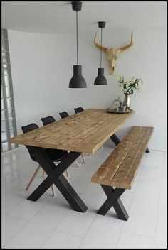 49 Diy Wooden Dining Table Idea - As a DIY person with passion specifically for woodworking, I've always wanted to build a dining room table. It wasn't until I had the weekend free tha. Dining Room Table Decor, Wooden Dining Tables, Room Decor, Wooden Table Diy, Modern Rustic Dining Table, Diy Esstisch, Esstisch Design, Home Decor Kitchen, Farmhouse Table