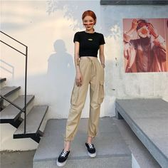 Pants Women 2019 Ankle-Length High Drawstring Waist Solid Pockets Womens Leisure Loose Korean Style Simple All-match Trendy Chic Casual Chic Outfits, Casual Hijab Outfit, Korean Casual Outfits, Korean Summer Outfits, Korean Outfit Street Styles, Kpop Outfits, Retro Outfits, Trendy Outfits, Fashion Outfits