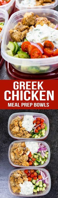 Greek Chicken Meal Prep Bowls are marinated grilled chicken, cucumber salad, tomatoes , purple onions and tzatziki