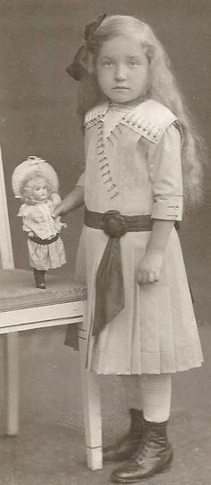 Beautiful Little Girl with Long Hair & Little Doll Germany