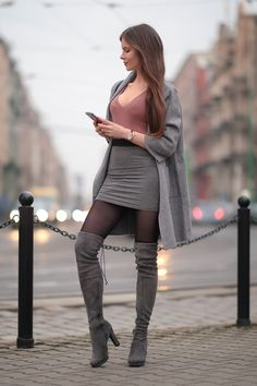 Pantyhose Outfits How To Wear and Pantyhose Outfits Gray coat pastel sweater gray mini skirt and suede boots behind the knee - As first see. Mode Outfits, Sexy Outfits, Fashion Outfits, Womens Fashion, Fashion Ideas, Grey Over Knee Boots, Knee High Boots, Look Fashion, Autumn Fashion