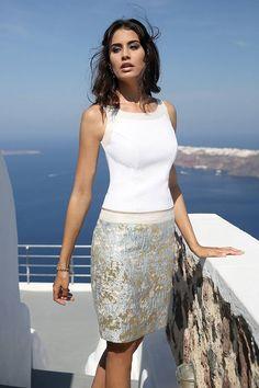 Linea Raffaelli - Short dress in a stunning light blue & gold jacquard fabric
