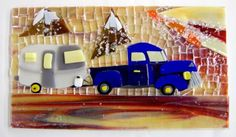 Before firing, this work is an amazing mix of a streaky in the background, layered with opals and clear in a great scene with a pick up and a trailer complete with mountains, etc. Jane P. is a no limits glass artist!