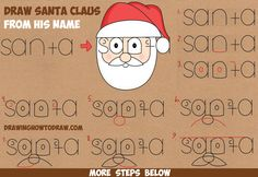 How to Draw Santa Clause from His Name Word Cartoon / Toon Easy Step by Step Drawing Tutorial for Kids on Christmas