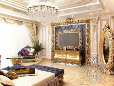 Bedroom Interior Design in Dubai by Luxury Antonovich Design Interior Design Dubai, Interior Design Companies, Luxury Homes Interior, Villa Design, House Design, Conception Villa, Tv Wall Design, Master Bedroom Design, Fireplace Design