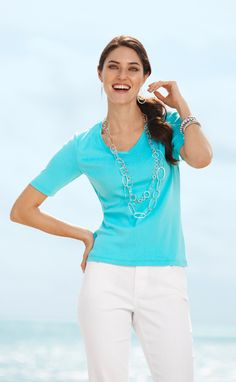 The Gemma Tee in spring colors. #DestinationFabulous #travel #spring #chicos