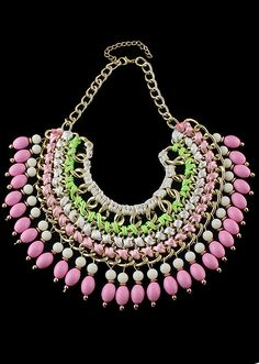 collier frange perles -rose  8.22