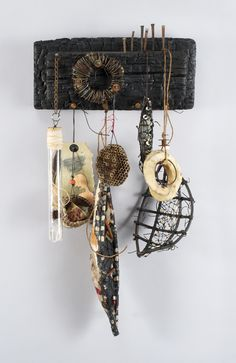 Shannon Weber, Oregon Woven Mixed Media woven, stitched, carved, burned, paper, encaustic, beach stones, fish bones