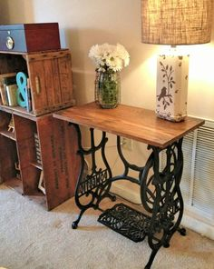 """Vintage Sewing Reclaimed Wood Sewing Machine Table :: Hometalk - This was a fairly easy project, with beautiful results! I was fortunate enough to find this """"Domestic"""", cast iron sewing machine base at a local thrift store t… Singer Table, Singer Sewing Tables, Repurposed Furniture, Painted Furniture, Home Furniture, Rustic Furniture, Antique Furniture, Modern Furniture, Furniture Ideas"""