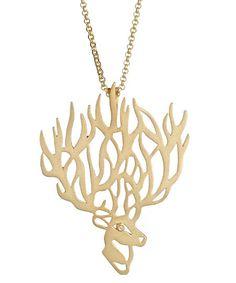 Agrigento Deer Pendant Necklace in Gold