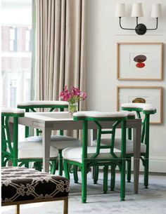 #Kelly #Green chairs with nailhead trim