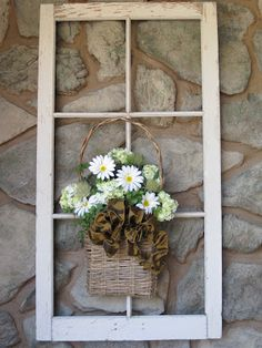Love this idea for the old 6 pane windows - could put colorful flowers below for the other window ideas