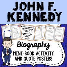 This easy to use John F. Kennedy printable biography mini-book is available in both color and b/w options, and is useful for both independent and group activities. This is the perfect tool to encourage a wide range of thinking and creativity among students, connecting history with the present day.