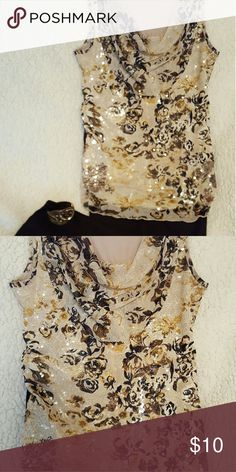 Sleeveless Drape Neck Top Size M Lovely drape neck, sleeveless, with a touch of shimmer.  Looks great with browns, black, beige or even cream colored bottoms. Dress Barn Tops