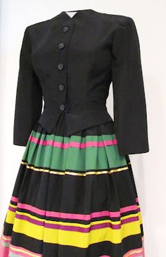 Louella Ballerino Striped Peasant Skirt with jacket, early 1940's