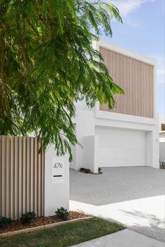 Facade Design, Fence Design, Duplex Design, House Design, Timber Fencing, Front Fence, Diy Fence, Backyard, Patio