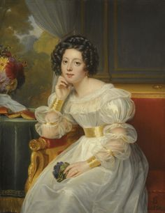 .:.Portrait of a Young Lady (1830). Louis Hersent (French, 1777-1860). While an open book lies behind the lady and she holds a small bouquet, this painting is not meant to be a narrative. The focus is the portrait of the lady's face. She wears a simple white dress which would not detract from the face. While elegant and up-to-date in its styling, the dress was a conservative choice. The main concessions to fashion are the gold cuffs and a wide belt that accentuates her sl...