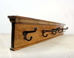 Vintage Oak Wall Coat Hook  / 5 Iron Coat Hooks on Oak Board on Etsy, $84.00