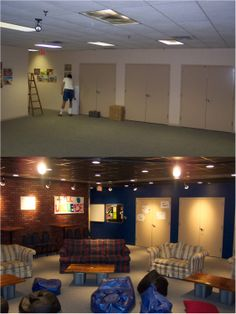Youth room before and after pics facing back