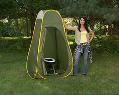 Camping Travel Toilet and Privacy Pop-up Complete Package. I might actually like camping with this. not a big fan of peeing in the woods.
