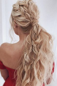 wedding hairstyles for long hair beach wavy volume ponytail with braids belaya_lyudmila - Coiffure Sites Wedding Hairstyles For Long Hair, Box Braids Hairstyles, Braids For Long Hair, Long Curly Hair, Hairstyles Haircuts, Hairstyle Ideas, Ponytail Hairstyles For Prom, Boho Hairstyles For Long Hair, Gorgeous Hairstyles