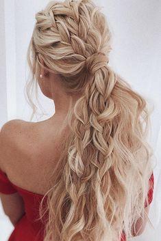 wedding hairstyles for long hair beach wavy volume ponytail with braids belaya_lyudmila - Coiffure Sites Wedding Hairstyles For Long Hair, Box Braids Hairstyles, Braids For Long Hair, Long Curly Hair, Hairstyles Haircuts, Curly Hair Styles, Natural Hair Styles, Hairstyle Ideas, Hair Ideas
