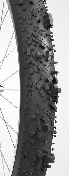 Ilustração Bike City by Bruno Ferrari, via Behance
