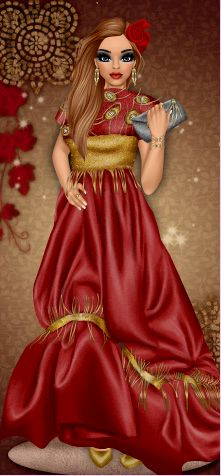 Couture gown worn by DC member and designer, Reesie! Dress Up Games   Diva Chix: The Fashionista's Playground #dressupgames #fashiongames #fashion #girlgames #gown #fashionillustrations #designer #outfit #red #gold #haute #couture