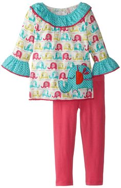 Rare Editions Little Girls' Toddler Printed Corduroy Legging Set, Multi Color, 2T. Pullover. Blue dot shawl collar and ruffle cuff, and fuchsia pom pom hem details.