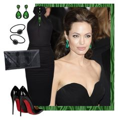 Angie Inspired by shoppe23 on Polyvore featuring polyvore, fashion, style, Plein Sud, Christian Louboutin, Robert Allen, ANGELINA, clothing, LBD, angelinajolie, oscarawards, halterdresses and emeraldearrings