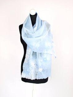 Nunofelted scarf blue sky weeding shawl