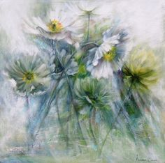 BATHED IN LIGHT. Oil Mariana Zwaan. Poppies are delicate flowers.