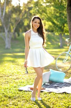 Just Jessica Ricks: Photo Cute Dresses, Short Dresses, Summer Dresses, Hapa Time, Jessica Ricks, Lace Crop Tops, Beautiful Legs, Feminine Style, Fashion Models