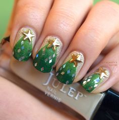 Christmas tree nails with diamond glitter and gold star studs