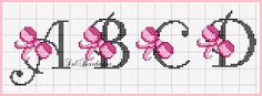 Cross-stitch Pink Ribbon ABCs, part 1 . no color chart available, just use… Cross Stitch Alphabet Patterns, Embroidery Alphabet, Cross Stitch Letters, Cross Stitch For Kids, Cross Stitch Baby, Cross Stitch Flowers, Cross Stitch Charts, Cross Stitch Designs, Embroidery Patterns