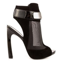 Shoe-tensity: Black Suede Patent Leather Silver Chrome Peep Toe Ankle Strap High Heel Shoes