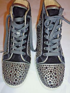 3f9b5206dfb4 CHRISTIAN LOUBOUTIN Men s Authentic Black Louis Metal Suede Strass Sneakers