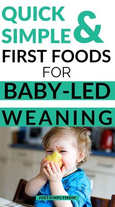 Here are great starter foods and helpful tips for when you first start giving your baby solid foods using the baby led weaning approach to feeding. Foods for toddlers to feed themselves. How to feed baby for baby-led weaning. Baby-led weaning tips. Baby Led Weaning First Foods, Baby First Foods, Baby Weaning, Weaning Toddler, Feeding Baby Solids, Solids For Baby, Toddler Finger Foods, Toddler Meals, Toddler Recipes