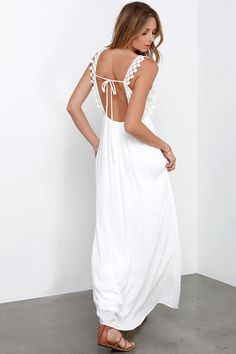 Romantic Realizations Ivory Crochet Maxi Dress at Lulus.com!