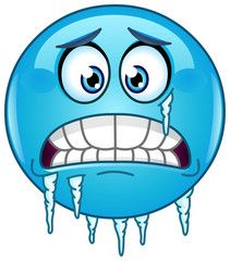 Vektor: Blue cold freezing face emoticon with icicles clinging to its jaw and cheek emoji smileys