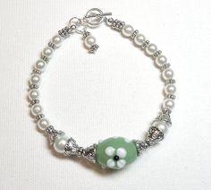 Bracelet Green White Glass Pearl Lampwork  Silver Plate  FREE SHIPPING. $10.00, via Etsy.