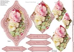 Vintage Roses Diamond Shaped Pyramage Topper on Craftsuprint designed by Sandie Burchell - Beautiful Shaped Pyramage Topper with 4 Layers of Pyramage and choice of sentiment panels which includes: Happy Birthday, Happy Mother's Day or Blank for your own message. To search for more in this style click on my name and enter diamond pyramage topper in my search box. Please take a look at my other designs by clicking on my name. - Now available for download!