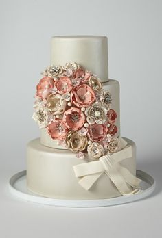 Brides: America's Prettiest Wedding Cakes | A Glamorous Wedding Cake with Jeweled Flowers | Amy Beck Cake Design